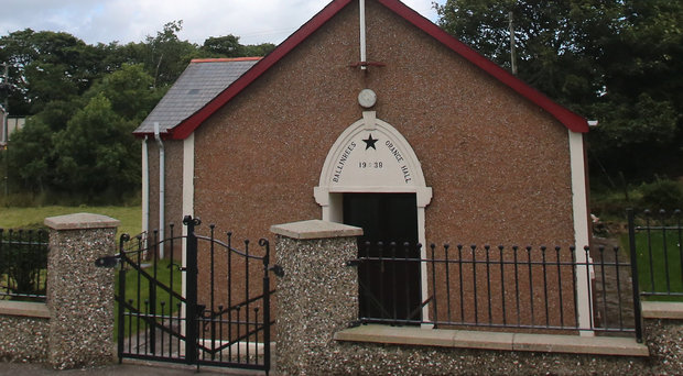 Ballinrees Orange Hall on the Windyhill Road in Coleraine with the broken flagpole