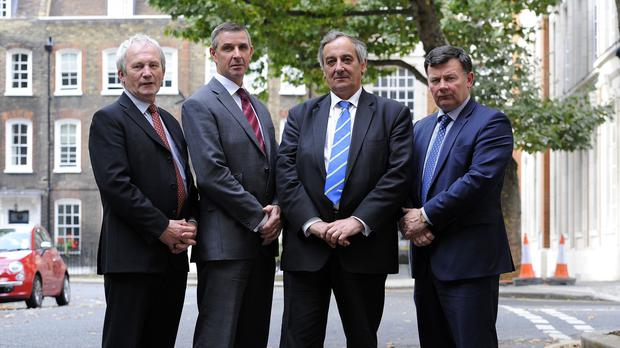 From left to right, NFU Cymru president Stephen James, Ulster Farmers Union president Ian Marshall, NFU president Meurig Raymond and NFU Scotland president Allan Bowie deliver a statement outside Defra in London