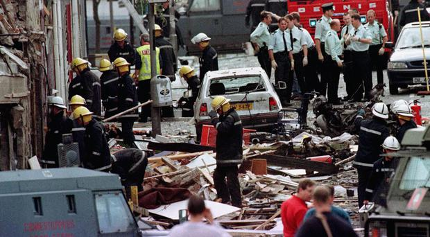 The damage caused by the bomb blast in Market Street, Omagh