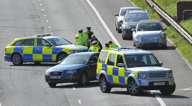 Police at the scene yesterday