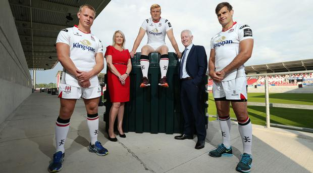 Kingspan's Pat Freeman, second right, issued the warning at an event at the Kingspan stadium in Belfast (Kingspan Titan/PA)