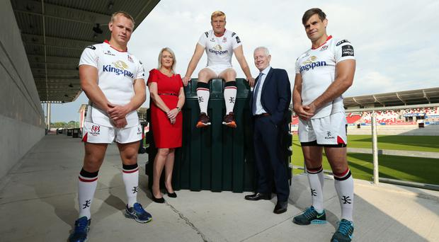 Ulster Rugby stars Luke Marshall, Franco Van De Merwe and Louis Ludik joined Pat Freeman and Abbey Scott, regional sales manager NI, Kingspan Titan, at Kingspan Stadium yesterday