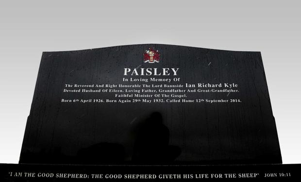 The black granite headstone of the Rev Ian Paisley in Ballygowan, Co Down