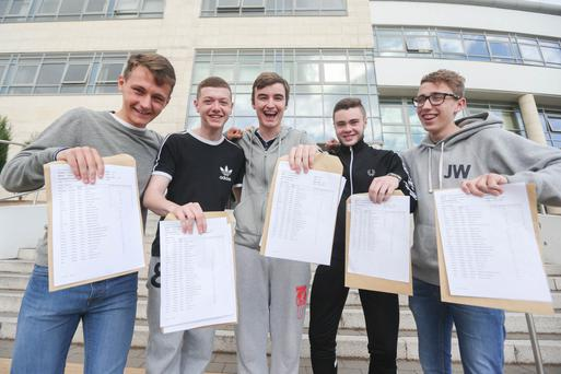 Pupils at Belfast Boys Model yesterday. From left, Marty Johnston, Jordan Davis, William Rose, James Coughlin and Curtis Patrick