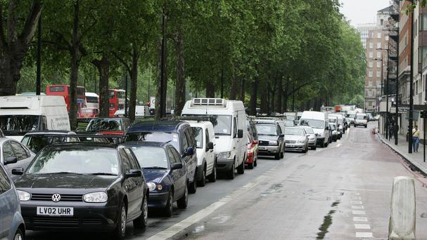 Traffic queuing up along Park Lane in central London