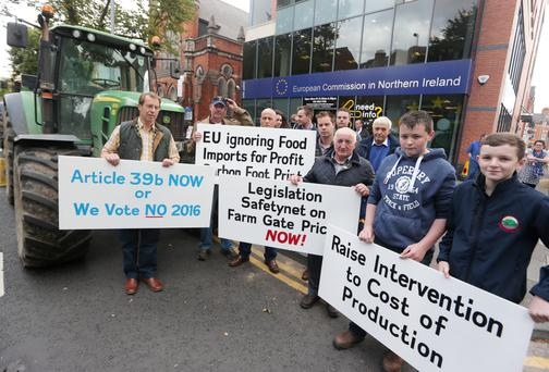 Farmers hold a protest outside the Belfast European Commission office on Dublin Road over the ongoing issue of food prices