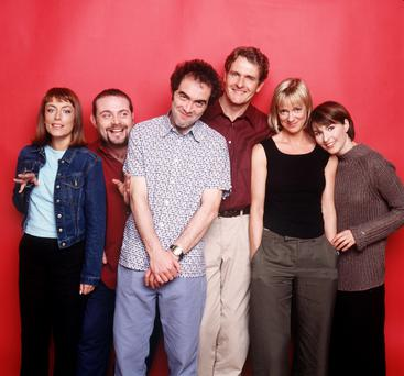 James Nesbitt with the other cast members (from left) Fay Ripley, John Thomson, Robert Bathurst, Hermione Norris and Helen Baxendale