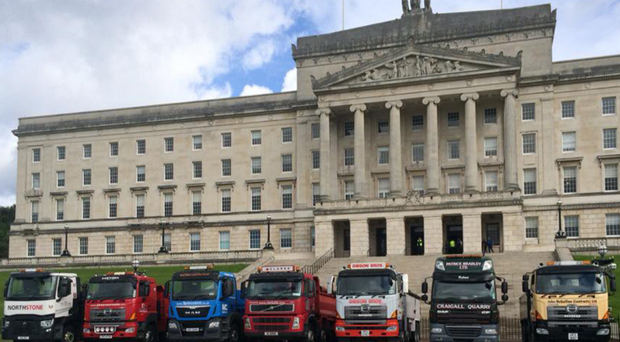 Lorries lined up at Stormont yesterday ahead of meeting