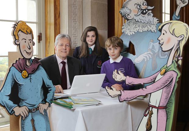 At the launch of the Go Berserk programme are First Minister Peter Robinson, Amy McCormick, a Year 8 pupil at Wellington College, and James McAleese, a P5 pupil from Loughview Integrated Primary School