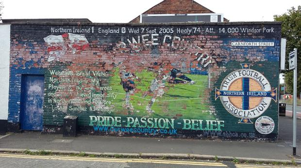 The mural of David Healy's goal in east Belfast