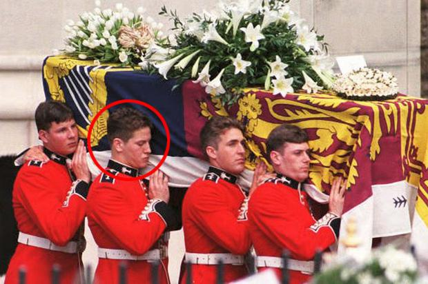 Phil Bartett, second from left, carrying coffin of Princess Diana