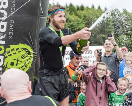 Armagh man Stevie McGeown celebrates after completing his challenge