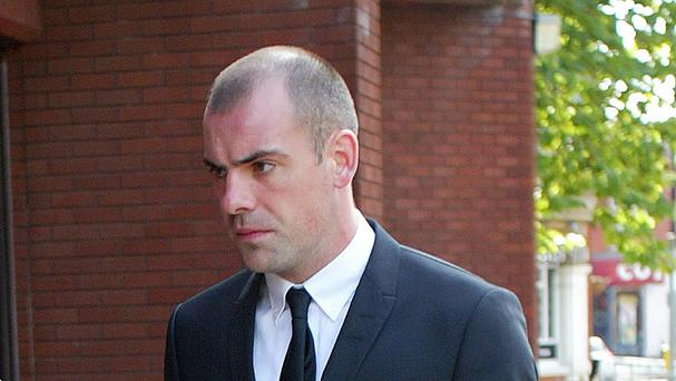 Everton footballer Darron Gibson arrives at Trafford Magistrates' Court in Sale