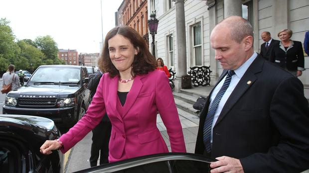 Northern Ireland Secretary Theresa Villiers leaves the Department of Foreign Affairs in Dublin after meeting Ireland's Foreign Affairs Minister Charlie Flanagan and Justice Minister Frances Fitzgerald