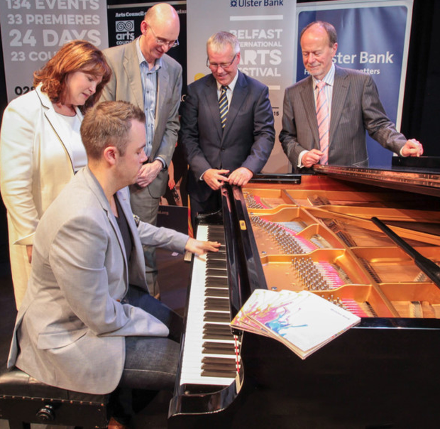 Pianist Nicholas McCarthy with festival chair Jackie McCoy, Richard Wakely, festival director, Richard Donnan, chief executive of Ulster Bank and Bob Collins, chairman of the Arts Council for NI