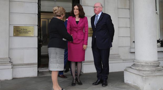 Northern Ireland Secretary Theresa Villiers leaving the Department of Foreign Affairs in Dublin after meeting Foreign Affairs Minister Charlie Flanagan