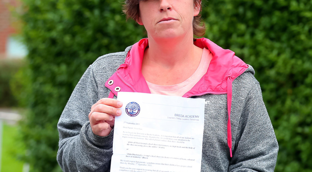 Clare Carlin with a letter about son Jonathan's appearance