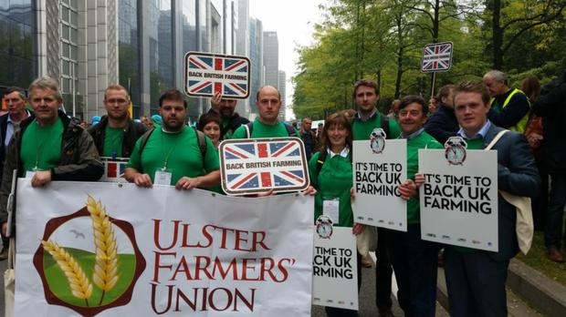Ulster farmers on the streets of the Belgian capital