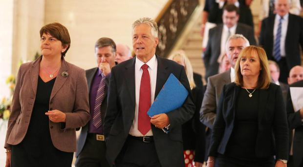 Peter Robinson with members of the DUP