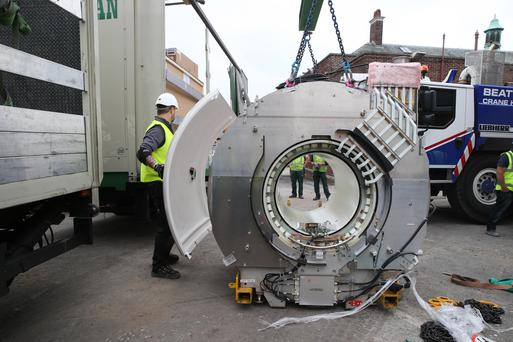 The new MRI scanner being delivered to the Royal Belfast Hospital for Sick Children yesterday