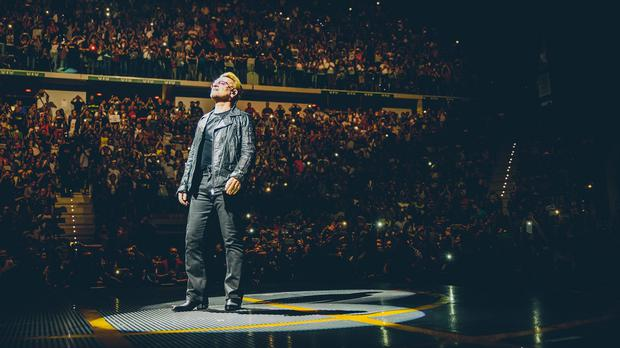 Bono on stage during the U2 concert at Turin's Pala Alpitour Arena