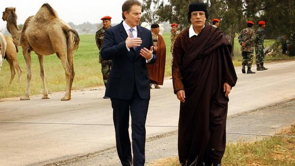 Tony Blair meeting Muammar Gaddafi on a visit to Libya