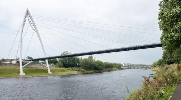 The new footbridge in Strabane is at the centre of a council row