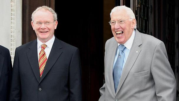Martin McGuinness, left, and Ian Paisley before a meeting at Stormont