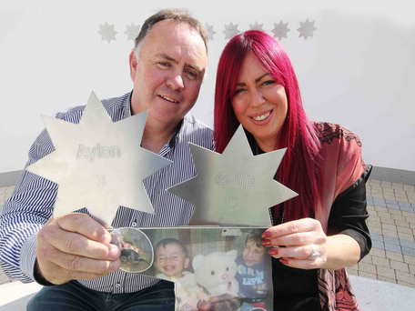 John McGarvey and Andrea McAleese with the stars to remember Aylan and Galip Kurdi