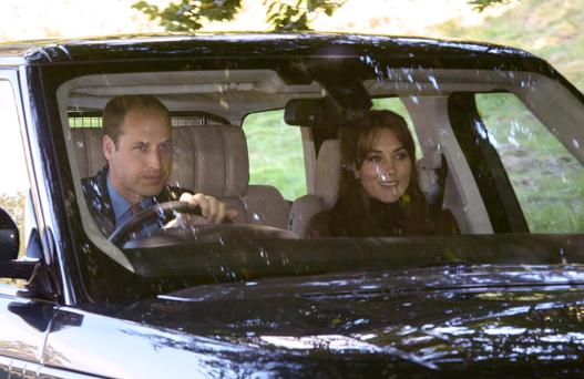 The Duke and Duchess of Cambridge arrive at Crathie Kirk in Scotland