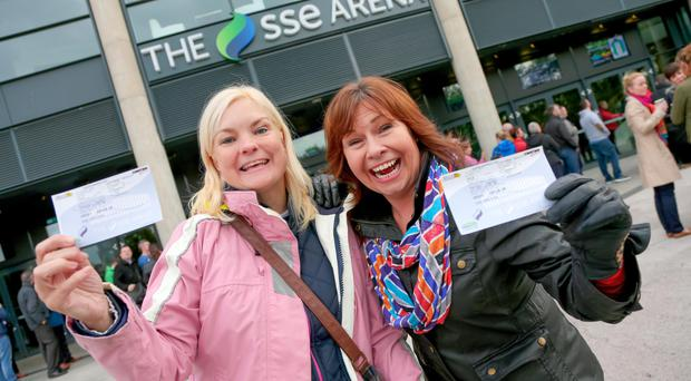 Tracy Hussain and Cathy Delaney from Dromore with their tickets