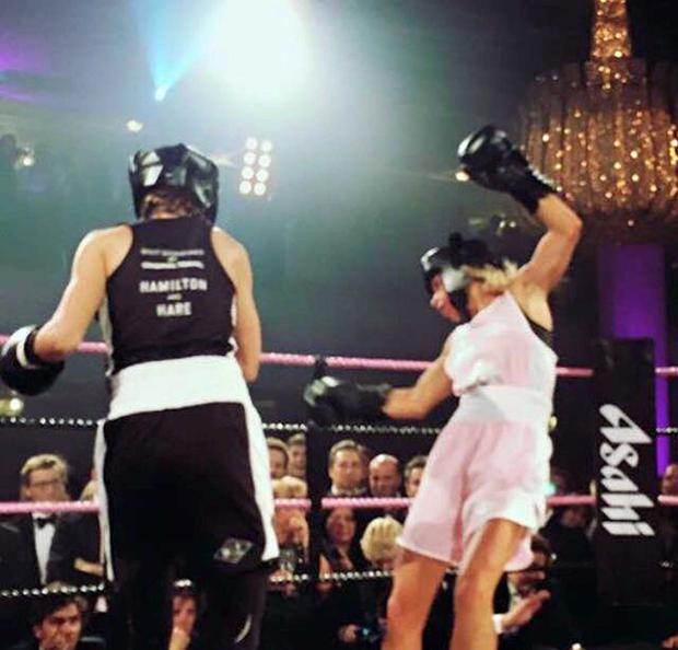 Joanne Salley during her boxing bout for charity