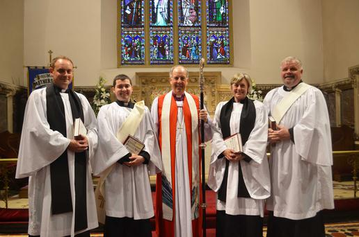 Bishop Ken Good (centre) with the new deacons, Rev Rhys Jones, Rev Chris MacBruithin, Rev Elizabeth Fitzgerald and Rev Robert Wray