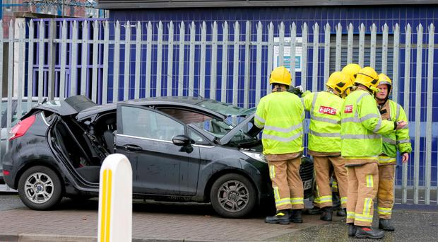 Emergency services at the scene of a crash on York Street where traffic lights were out of action
