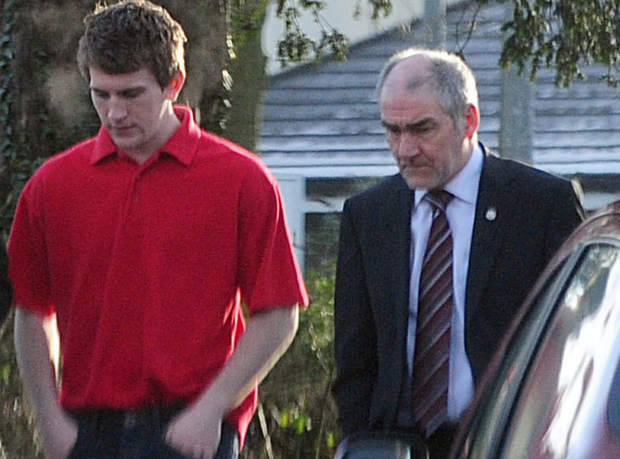 Sean Hackett (left) with Tyrone GAA manager Mickey Harte
