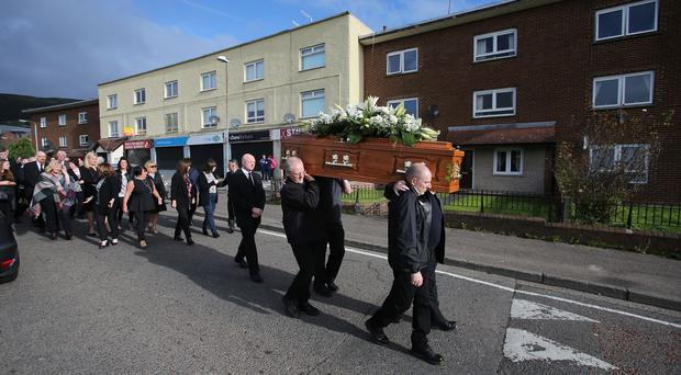 The funeral was held at St Agnes' Church in Andersonstown.
