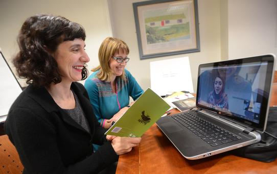 Professor Sinead Morrissey from the Seamus Heaney Centre for Poetry joins Julia Paul, a broadcast lecturer at Queen's University, for a Skype session to teach poetry to women in Afghanistan