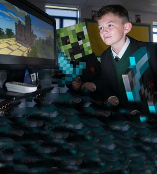 Peter Nelis of St Josephs Boys' School in Derry joined in the CultureTECH/Belfast Telegraph Minecraft building competition