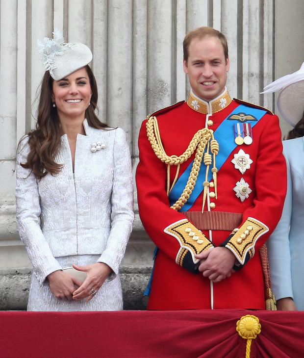 Prince William, with wife Kate, in Irish Guards uniform for the Trooping The Colour ceremony