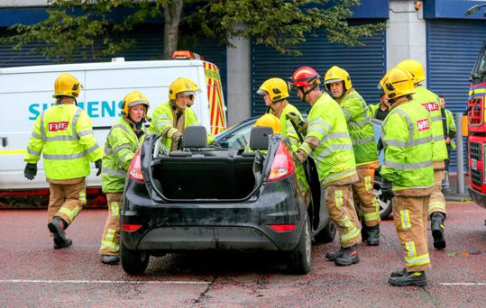Emergency services at the scene of a second crash on York Street yesterday where traffic signals were out