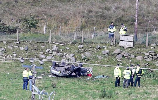 Wreckage at the scene of the accident in which friends Eoin Farrell and James Miskelly died