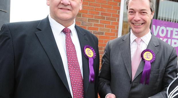Henry Reilly with Ukip leader Nigel Farage at the opening of the party's office in Bangor