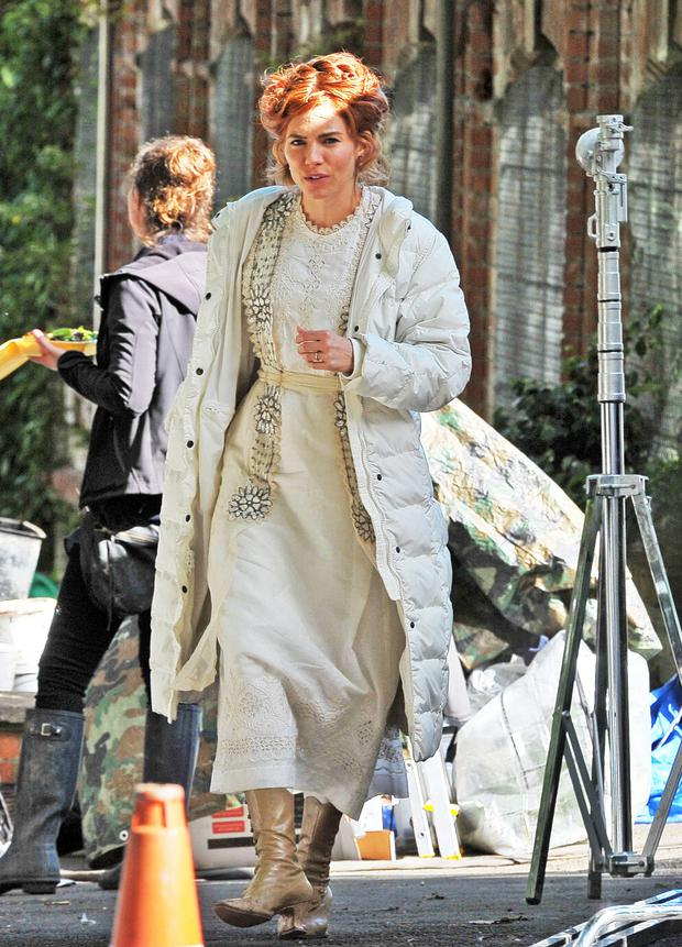 Sienna Miller in Botanic Gardens yesterday for filming in one of the huge glass houses