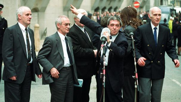Paddy Hill speaking outside the Old Bailey after the convictions of the Birmingham Six were overturned by appeal court judges in 1991