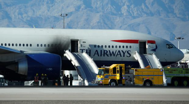 The Boeing 777-200 bursts into flames at McCarran International Airport in Las Vegas earlier this month, forcing 157 passengers and 10 crew to evacuate