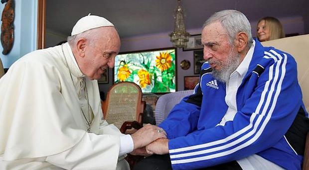 Pope Francis and former Cuba president Fidel Castro during a meeting at Castro's home in Havana