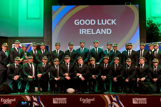The Ireland squad on stage during the welcome ceremony at Burton Town Hall, Burton upon Trent, yesterday
