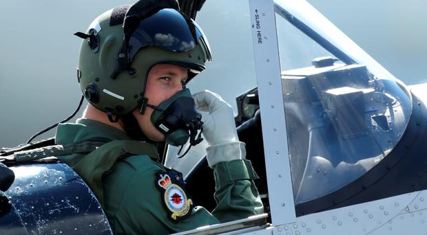 The Duke of Cambridge in the cockpit of a Chipmunk plane during a visit to RAF Coningsby, Lincolnshire, yesterday
