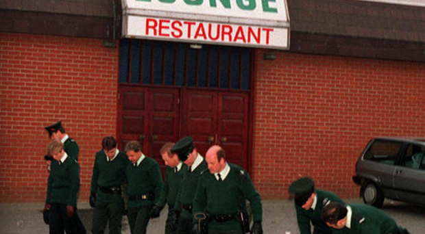 Officers at the scene of the Greysteel massacre in 1993