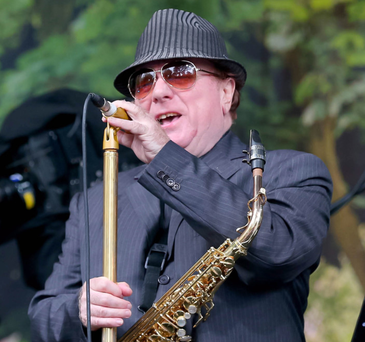Van Morrison performs at his birthday concert in Cyprus Avenue in east Belfast